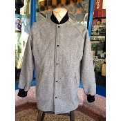 Medium Gray Knit Collar Clicker Coat