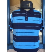Lowrider Charlie Brown Cholo Polo Shirt navy with light blue