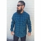 Navy blue with turquoise ombre Pendleton board shirt all wool flannel 2015