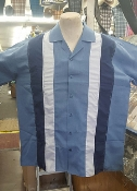 Blue Gray Navy bowling shirt