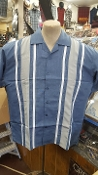 Blue White Gray bowling shirt