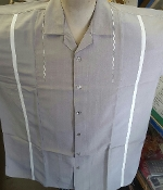 Taupe With Cream Stripe Bowling Shirt