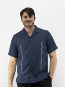 Navy With Blue Serpentine Embroidery Style Shirt