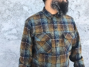 amber brown blue ombre Pendleton board shirt wool flannel custom made for Greenspan's