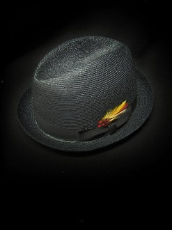 Center Crease Stingy Brim Milano Straw Hat Black