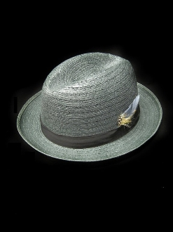 Gray Regular Straw Center Crease Hat