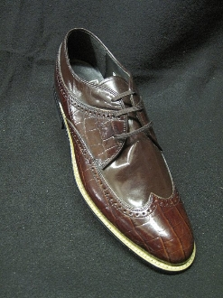 Stacy Adams Wingtip Daytons Brown Crocco grain/smooth leather