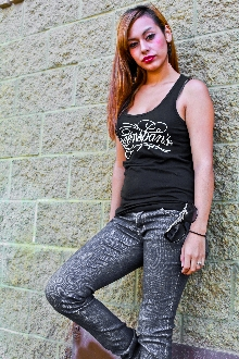 tank top for women by Greenspan's in tattoo art script design in black, all cotton