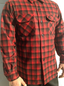 Red Black ombre Pendleton board shirt wool flannel photography by Josh Greenspan