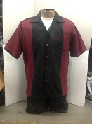 Short Sleeve Single Pocket TwoTone Emblem Shirt Burgundy w/Black