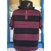 Lowrider Charlie Brown Cholo Polo Shirt Burgundy Black