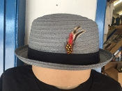 Center Crease Stingy Brim Breathable Straw Hat Gray