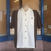 Short Sleeve TwoTone Single Pocket Emblem Shirt Brown w/Cream