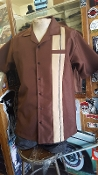 Greenspan's Short Sleeve One Stripe Shirt Brown w/Tan