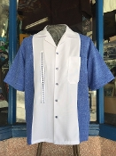 Short Sleeved Single Pocket TwoTone OTR Shirt Blue w/White