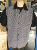 Short Sleeve Houndstooth with Black Two Tone Shirt