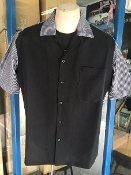 Short Sleeve Two Tone Shirt Black w/Black&White Houndstooth