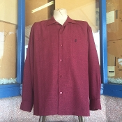 Long Sleeve Double Pocket Emblem Burgundy