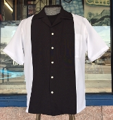 White with Black Two Tone Bowling Shirt