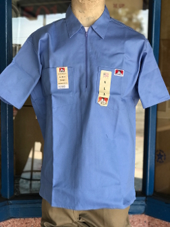 Ben Davis Short Sleeve Half Zip Shirt Light Blue