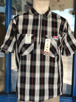Ben Davis Short Sleeve Half Zip Shirt Black/Cream/Red Plaid