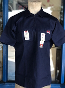 Ben Davis Short Sleeve Half Zip Shirt Navy