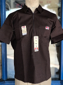 Ben Davis Short Sleeve Half Zip Shirt Brown