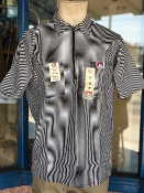 Ben Davis Short Sleeve Half Zip Shirt Black Stripe