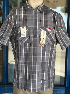 Ben Davis Short Sleeve Half Zip Shirt Grey/Black Plaid