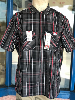 Ben Davis Short Sleeve Half Zip Shirt Black/Red Plaid