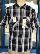 Ben Davis Short Sleeve Half Zip Shirt Black Plaid