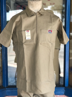 Ben Davis Short Sleeve Half Zip Shirt Khaki