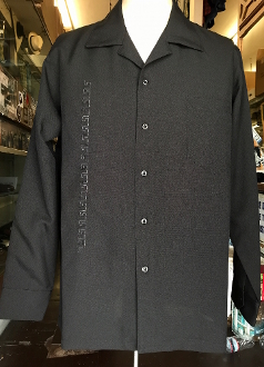 Long Sleeve Serpentine Embroidery Shirt Black