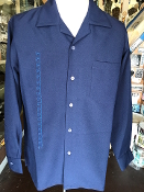 Long Sleeved Single Pocket Serpentine Shirt Navy Blue w/Sky Blue