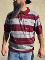 Lowrider Style Charlie Brown Cholo Polo Shirt Burgundy/gray