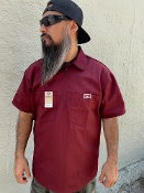 Ben Davis Short Sleeve Half Zip Shirt Burgundy