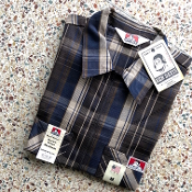 Ben Davis Short Sleeve Half Zip Shirt Brown Plaid