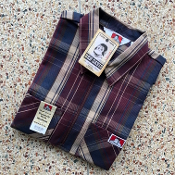 Ben Davis Short Sleeve Half Zip Shirt Burgundy Plaid