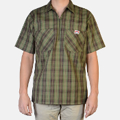 Ben Davis Short Sleeve Half Zip Shirt Olive Plaid