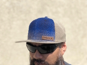 Tan Blue Ombre Wool Flat Brim Cap