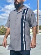 Greenspan's Short Sleeve One Stripe Shirt Gray w/Navy