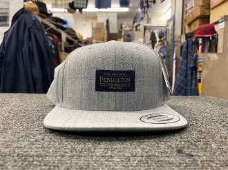 Heather Grey Wool Flat Brim Cap