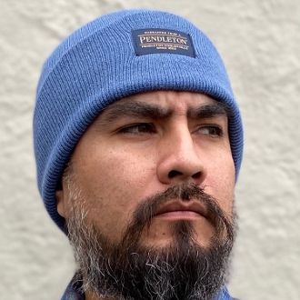 Mineral Blue Acrylic Pendleton Beanie