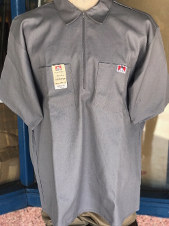 Ben Davis Short Sleeve Half Zip Shirt Light Gray