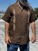 Short Sleeve Double Pocket Brown w/Tan Embroidery