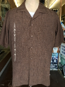Short Sleeved Single Pocket Rococo Shirt Brown w/Tan Embroidery