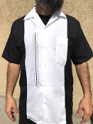 Short Sleeve Single Pocket TwoTone OTR Shirt Black w/White