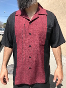 Short Sleeve Single Pocket TwoTone OTR Shirt Black w/Burgundy