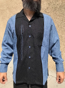 Long Sleeve Single Pocket TwoTone OTR Shirt Blue w/Black