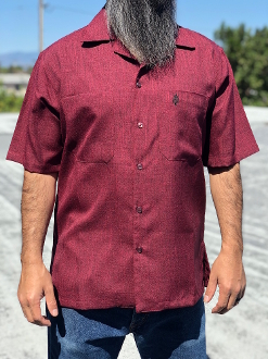 Short Sleeve Double Pocket Emblem Shirt Burgundy